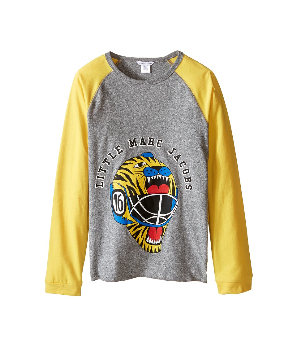 Little Marc Jacobs - Long Sleeve Hockey Illustration Tee Shirt (Big Kids) (Gris/Jaune) Boy's T Shirt
