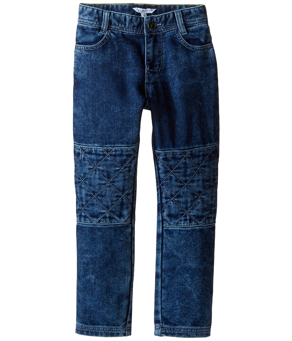 Little Marc Jacobs - Denim Effect Trousers with Knees Patches (Toddler/Little Kids) (Denim Blue) Boy's Jeans