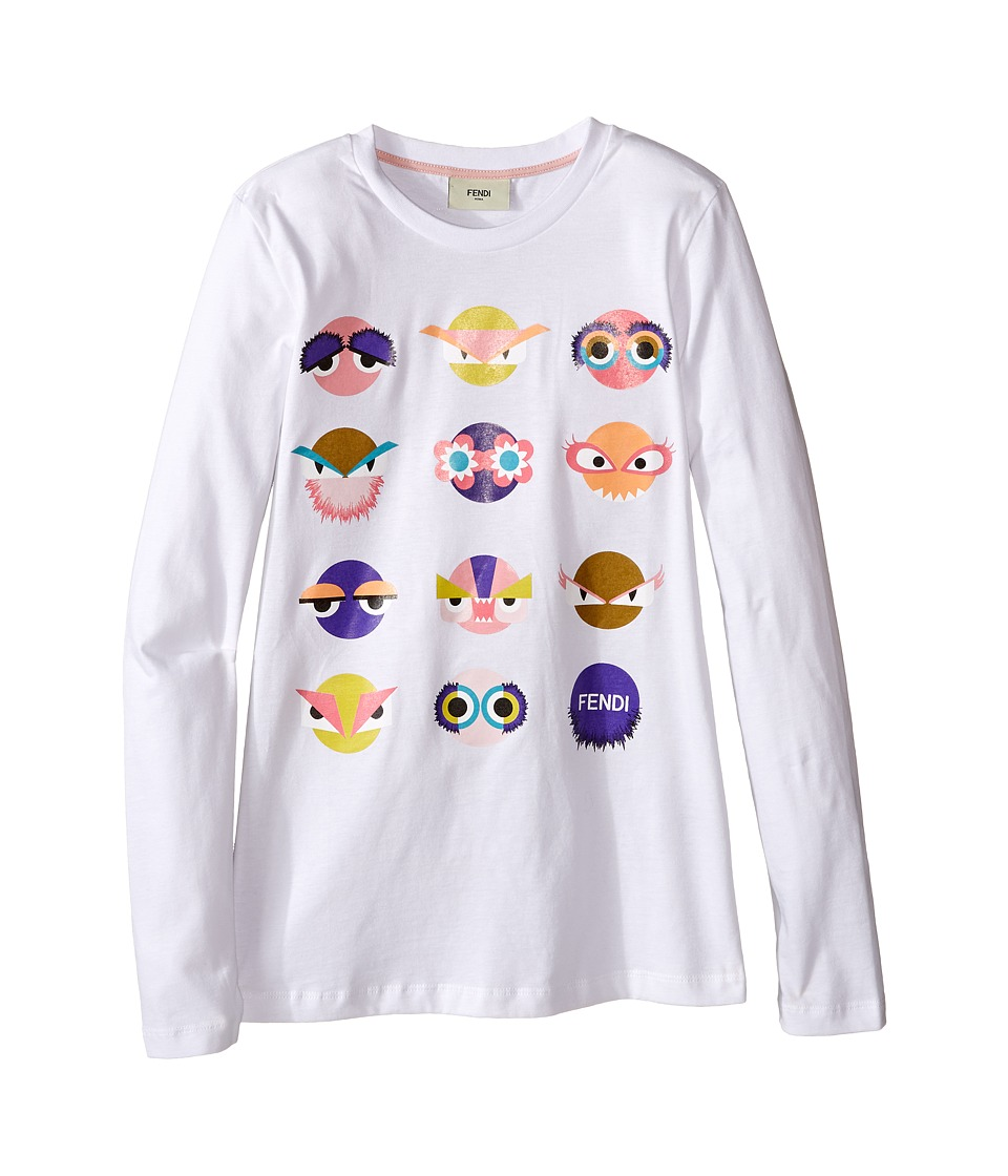 Fendi Kids - Long Sleeve T-Shirt w/ Monster Faces Graphic (Big Kids) (White) Girl's T Shirt