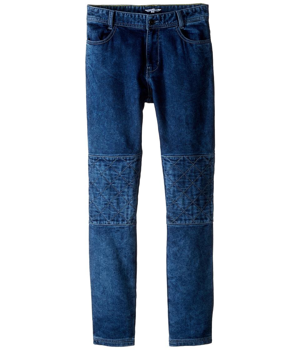 Little Marc Jacobs - Denim Effect Trousers with Knees Patches (Big Kids) (Denim Blue) Boy's Jeans