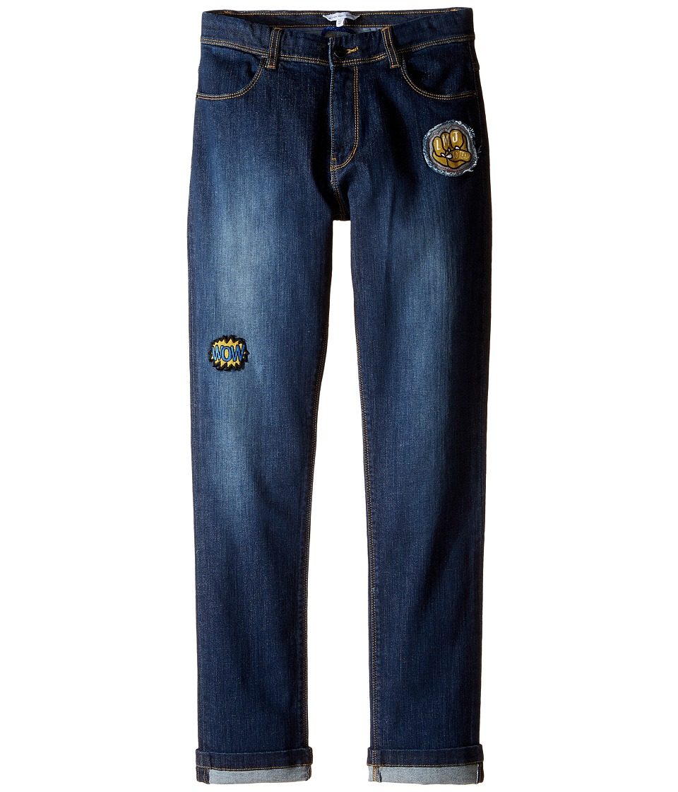 Little Marc Jacobs - Resort - Denim Trousers with Funny Patches (Big Kids) (Denim Blue) Boy's Jeans
