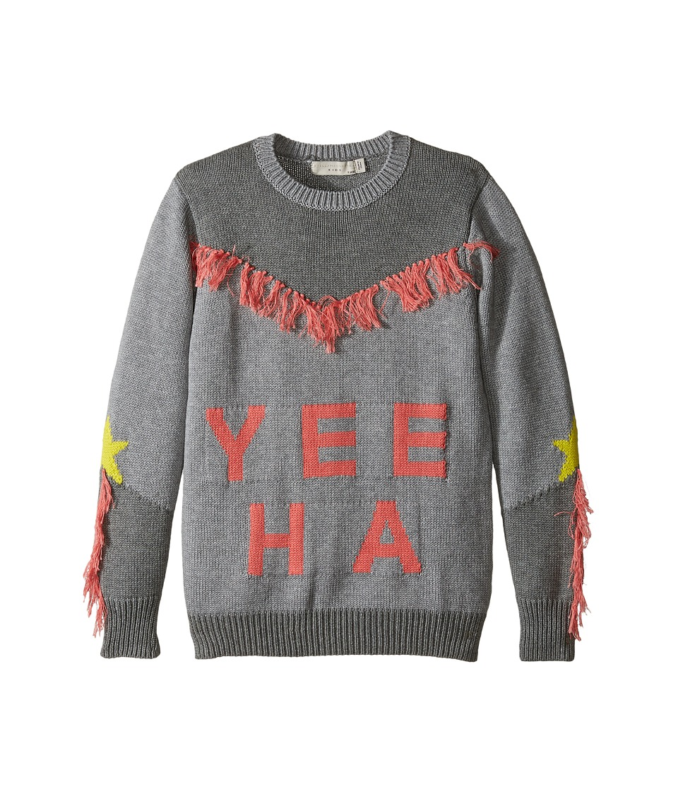 Stella McCartney Kids - Yeeah Yeeha Knit Sweater with Fringe Detail (Toddler/Little Kids/Big Kids) (Grey) Girl's Sweater