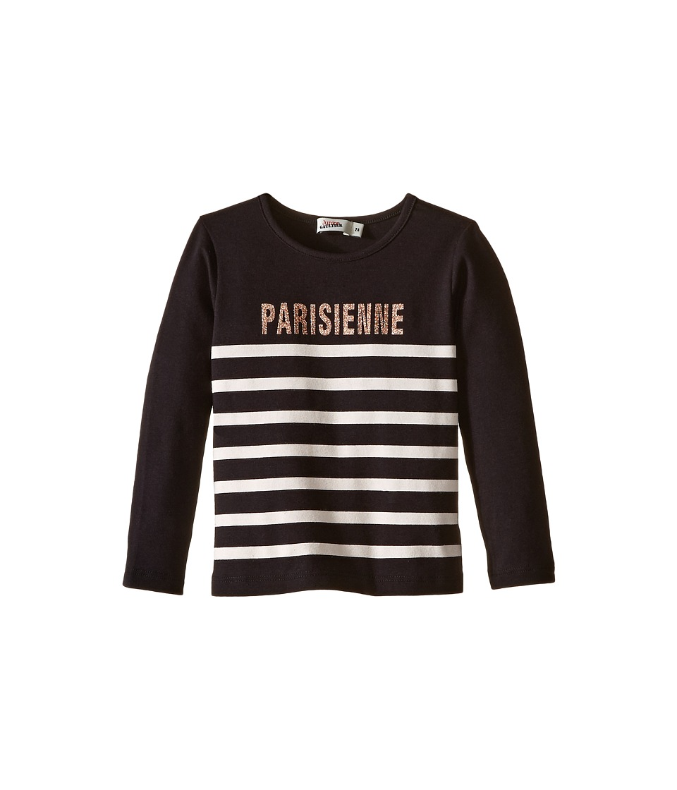 Junior Gaultier - Long Sleeves Tee Shirt Parisienne (Toddler/Little Kids) (Black) Girl's T Shirt