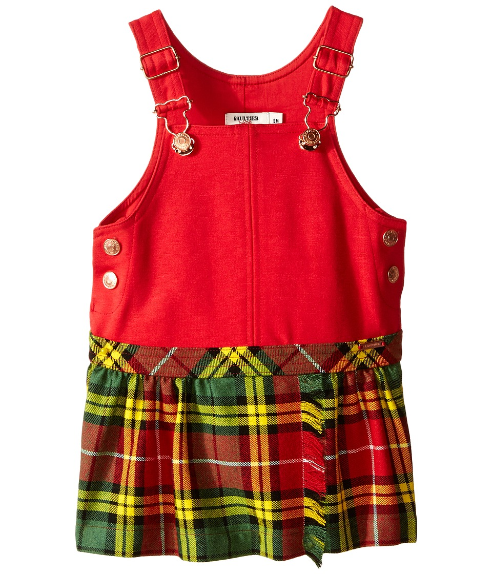 Junior Gaultier - Overall Dress with Plaid Skirt (Infant) (Red) Girl's Dress