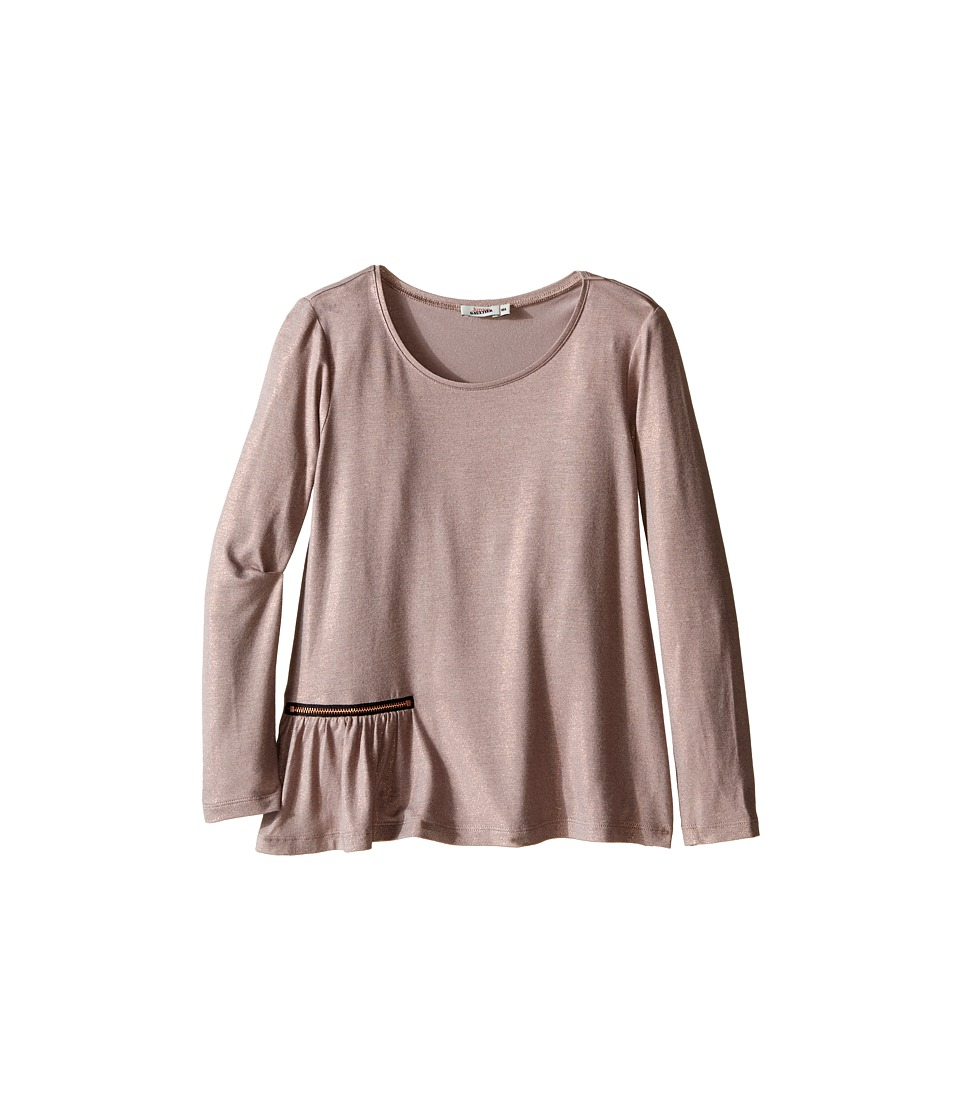 Junior Gaultier - Long Sleeves Tee Shirt with Zipper Detail (Big Kids) (Copper) Girl's T Shirt