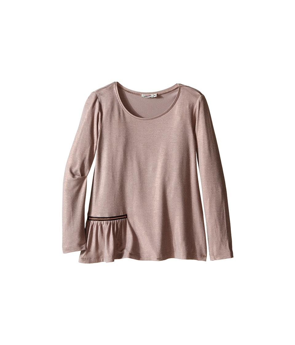 Junior Gaultier - Long Sleeves Tee Shirt with Zipper Detail (Big Kids) (Copper) Girl's T Shirt