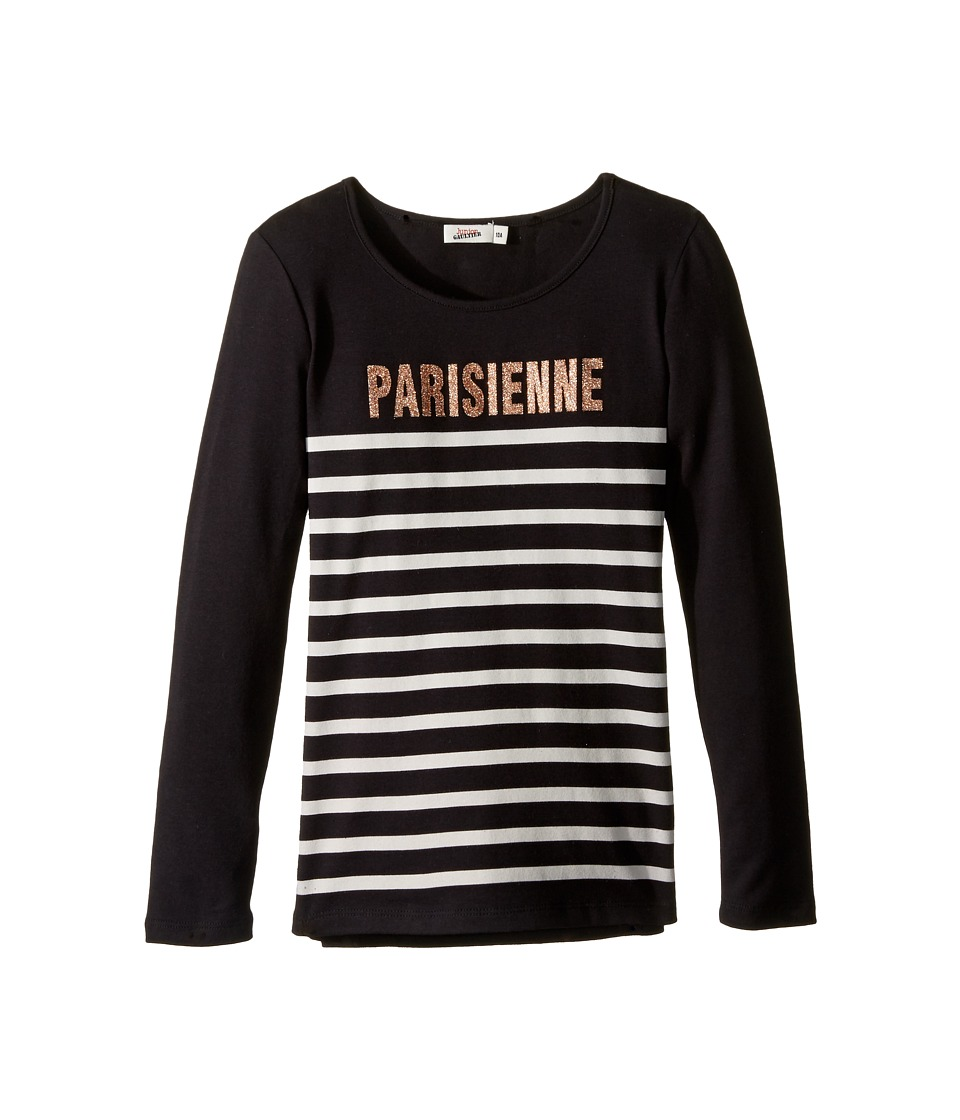 Junior Gaultier - Long Sleeves Tee Shirt Parisienne (Big Kids) (Black) Girl's T Shirt