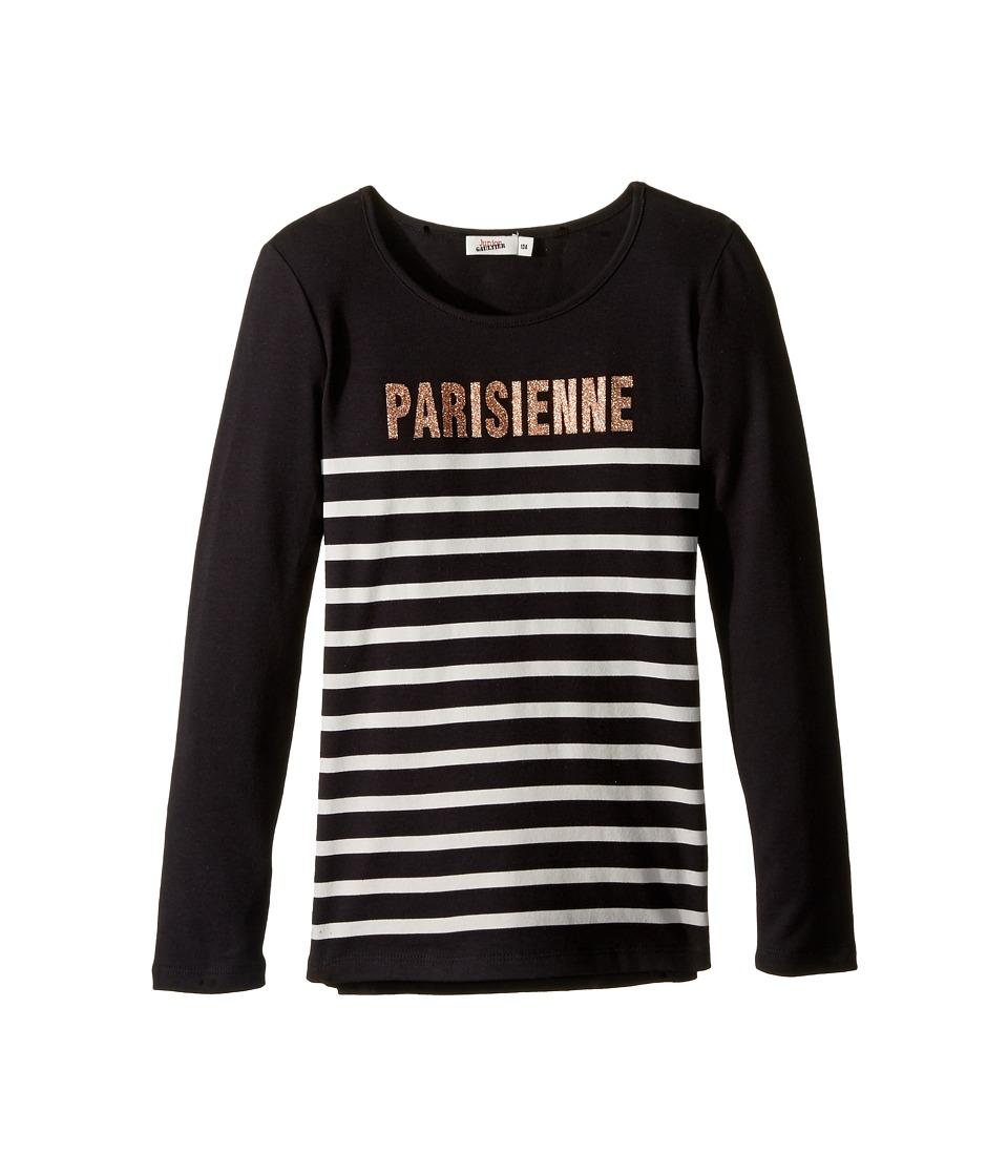 Junior Gaultier - Long Sleeves Tee Shirt Parisienne (Big Kids) (Black) Girl's T Shirt