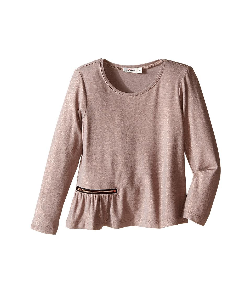 Junior Gaultier - Long Sleeves Tee Shirt with Zipper Detail (Toddler/Little Kids) (Copper) Girl's Dress