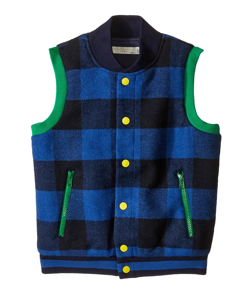 Stella McCartney Kids - Bram Checkered Wool Vest (Toddler/Little Kids/Big Kids) (Blue Checks) Boy's Vest