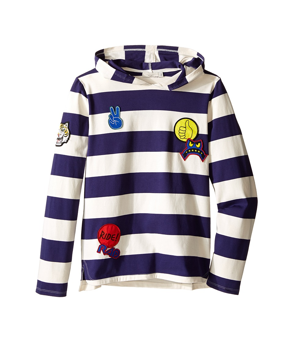 Stella McCartney Kids - Sid Striped Hooded Pullover with Badges (Toddler/Little Kids/Big Kids) (Blue/Cloud) Boy's T Shirt