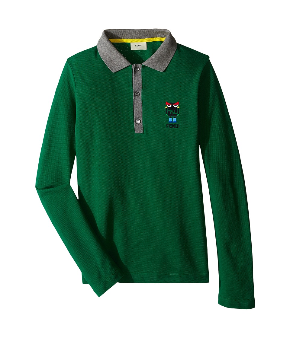 Fendi Kids - Long Sleeve Polo T-Shirt w/ Monster Logo Detail (Big Kids) (Green) Boy's T Shirt