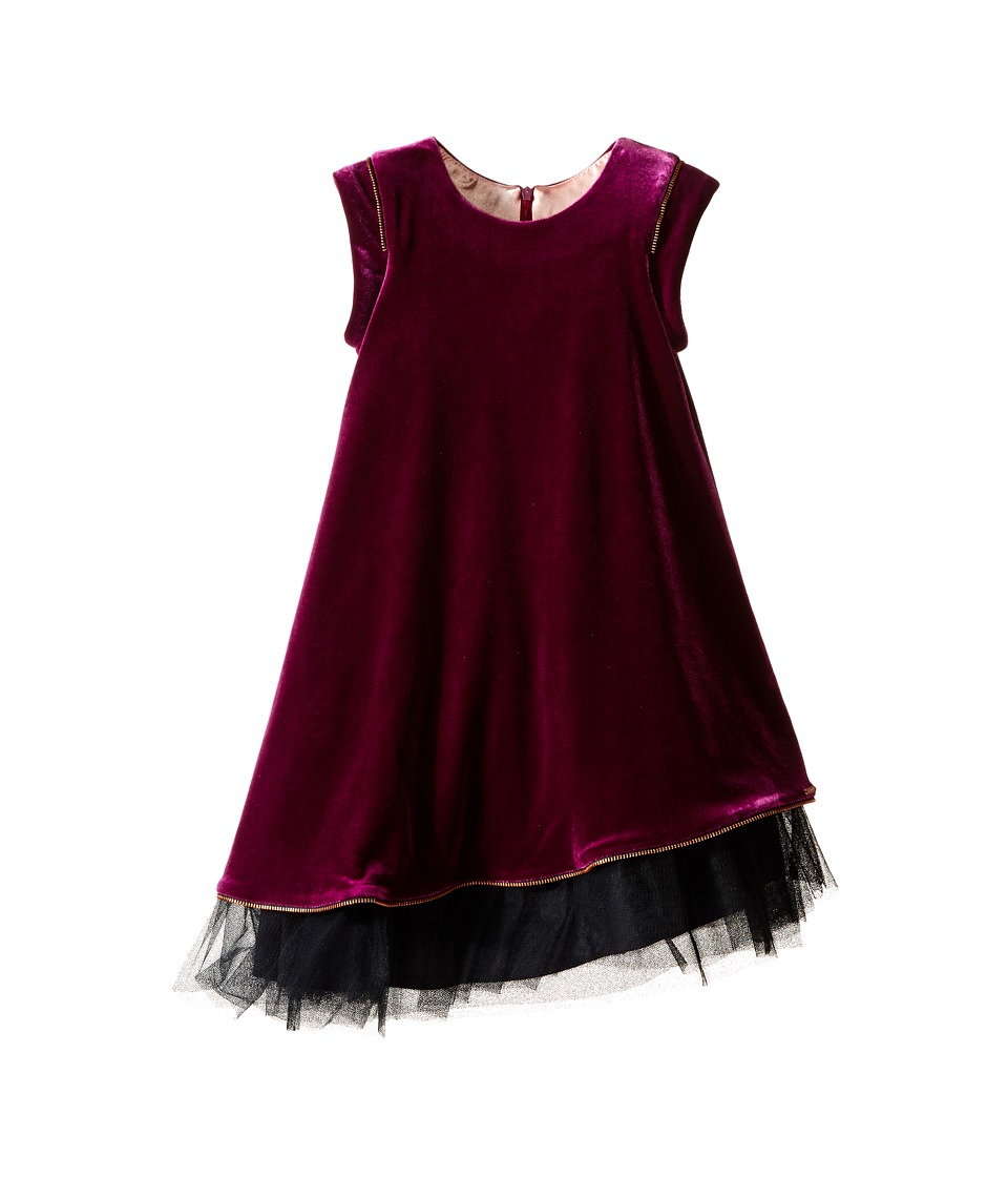 Junior Gaultier - Velours Dress with Black Tulle Detail at Bottom (Toddler/Little Kids) (Purple) Girl's Dress