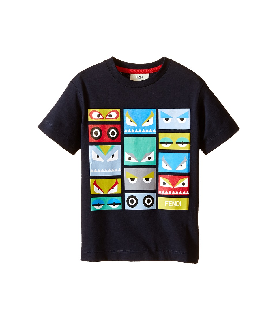 Fendi Kids - Short Sleeve T-Shirt w/ Monster Faces Graphic (Toddler) (Navy) Boy's T Shirt