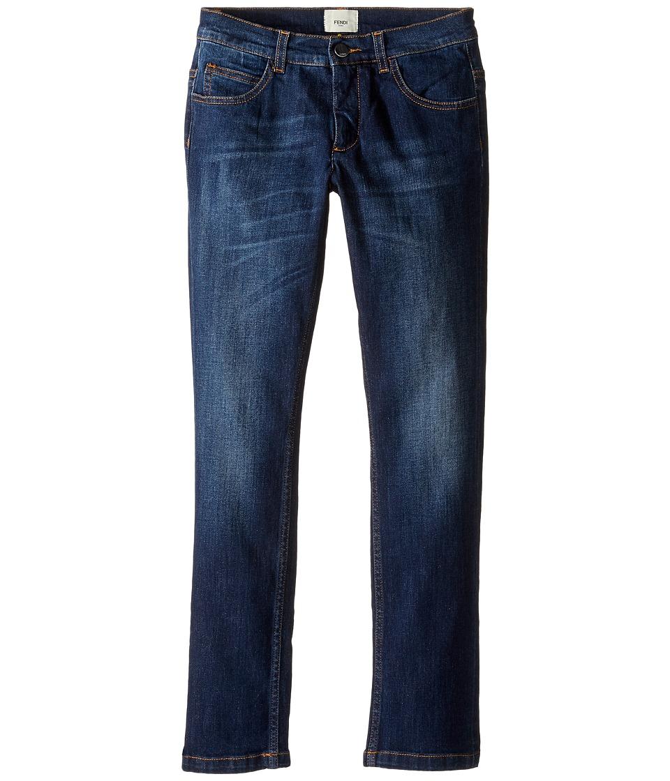 Fendi Kids - Denim Pants w/ Monster Logo Back Pocket (Big Kids) (Blue Denim) Boy's Jeans