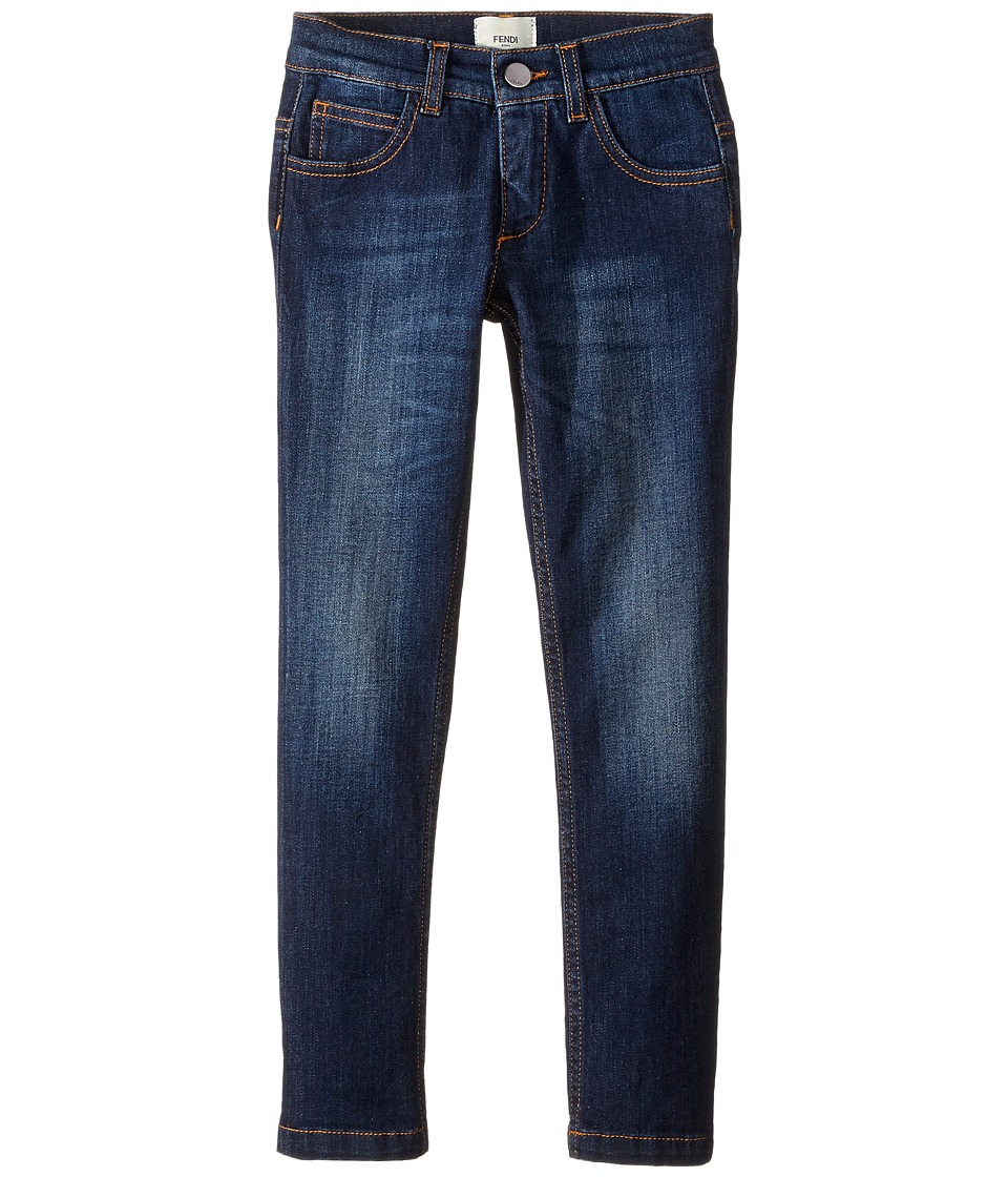 Fendi Kids - Denim Pants w/ Monster Logo Back Pocket (Little Kids) (Blue Denim) Boy's Jeans