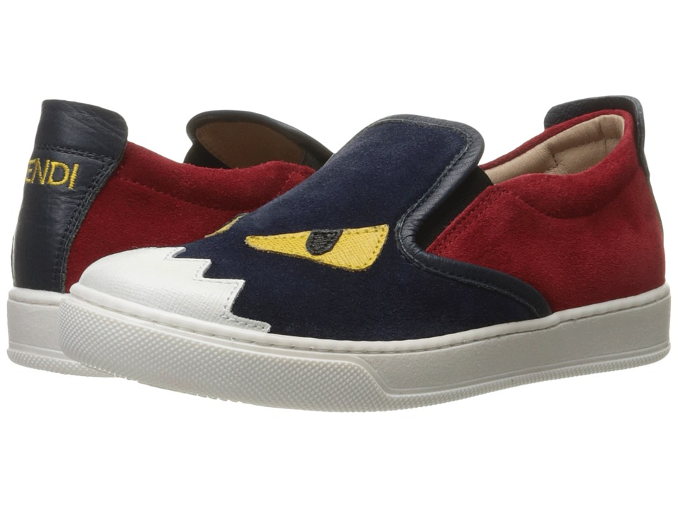 Fendi Kids - Slip-On Monster Sneakers (Little Kid/Big Kid) (Blue/Red) Boys Shoes