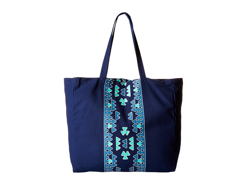 Plush - Soleil Aztec Tote Bag (Blue) Tote Handbags