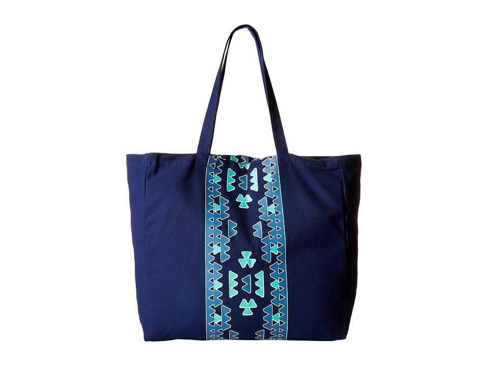 Plush - Soleil Aztec Tote Bag (Blue) Tote Handbags