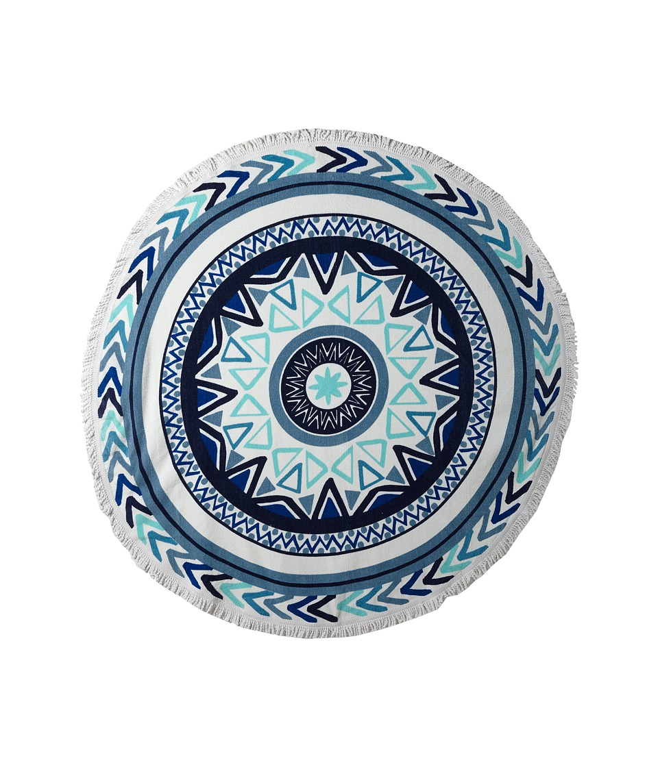 Plush - Soleil Sundial Round Beach Towel (White/Blue) Bath Towels