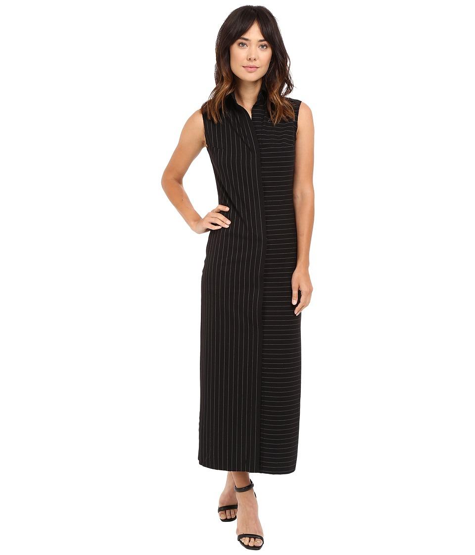 KAMALIKULTURE by Norma Kamali - Sleeveless Long NK Shirt (Black Pinstripe) Women's Dress