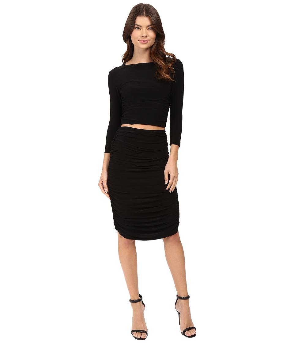 KAMALIKULTURE by Norma Kamali - Three-Quarter Sleeve Teaser Dress (Black) Women's Dress