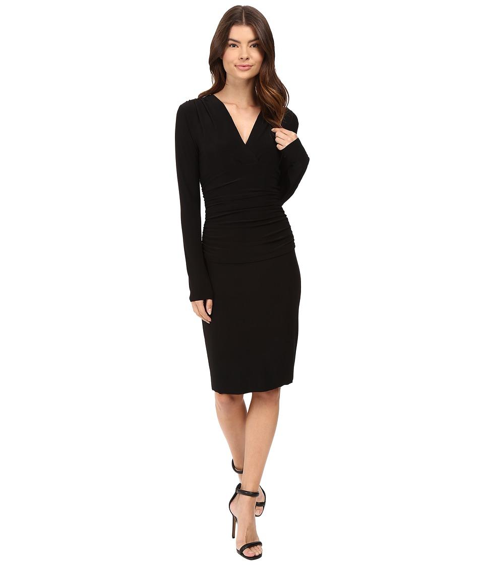 KAMALIKULTURE by Norma Kamali - V-Neck Long Sleeve Shirred Waist Dress (Black) Women's Dress