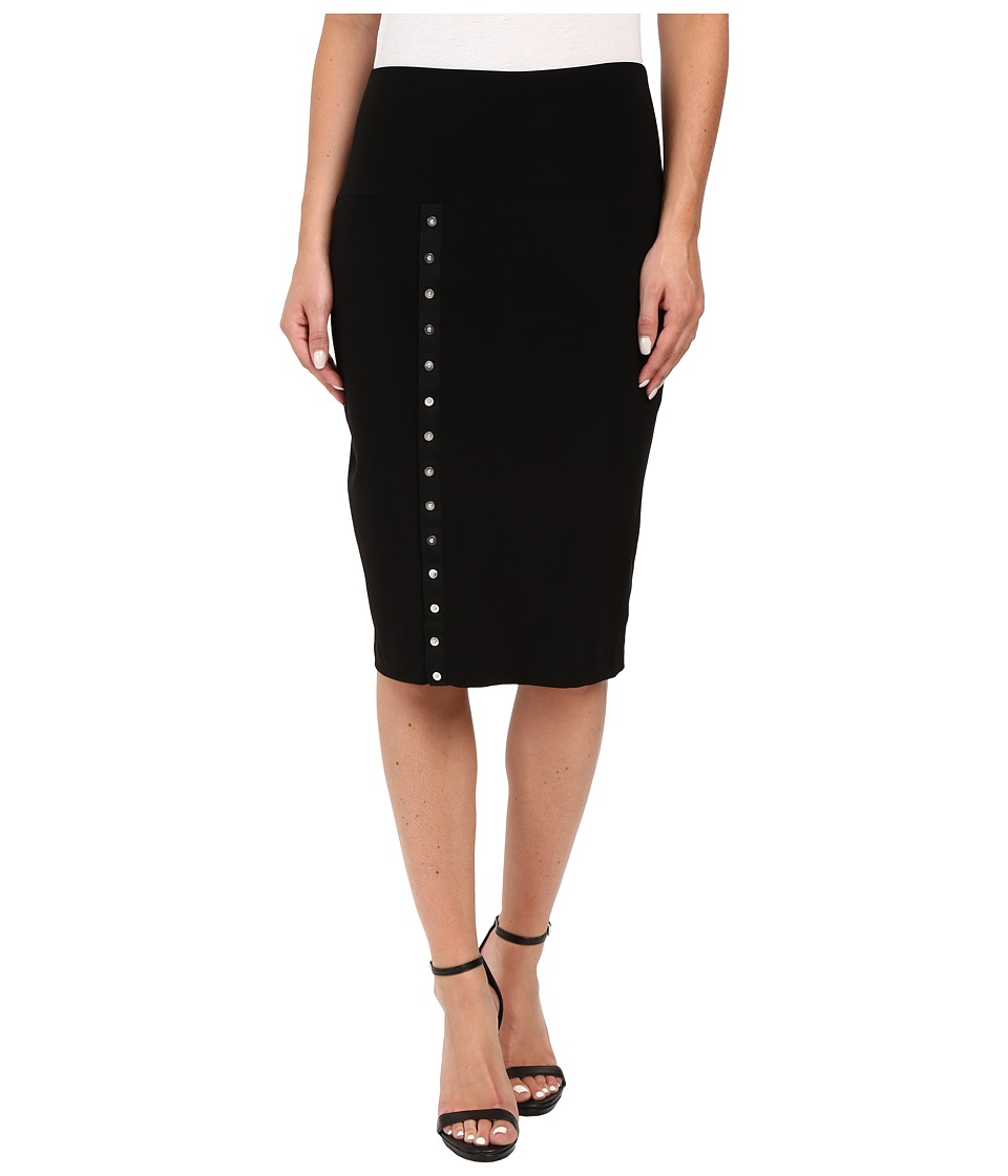 KAMALIKULTURE by Norma Kamali - Side Snap Skirt To Knee (Black) Women's Skirt