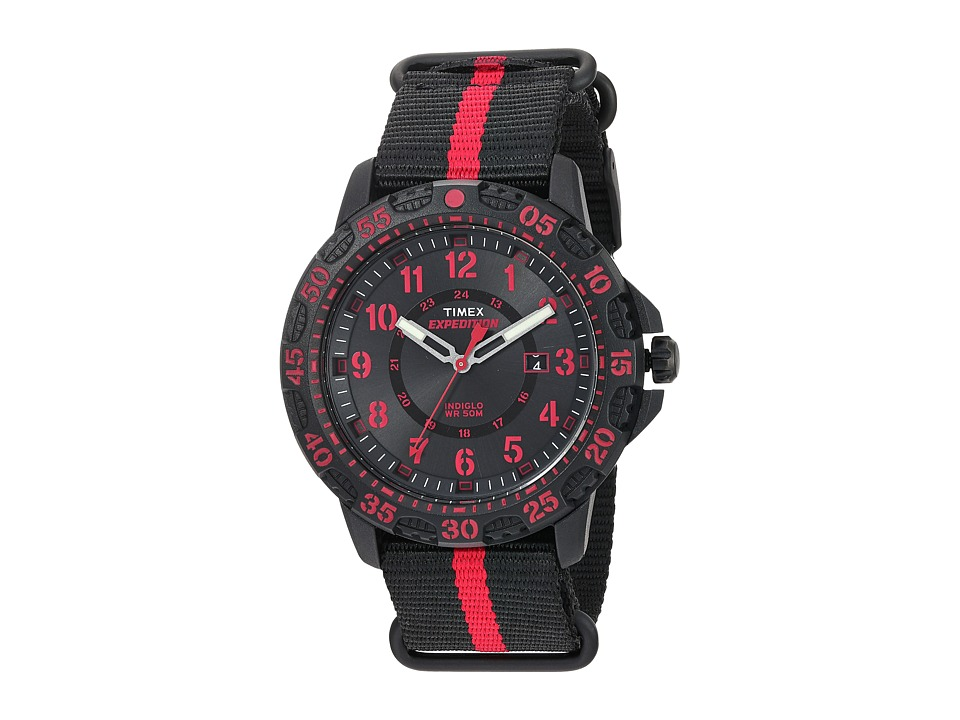 Timex - Expedition Gallatin Nylon Slip-Thru Strap (Black/Red) Watches