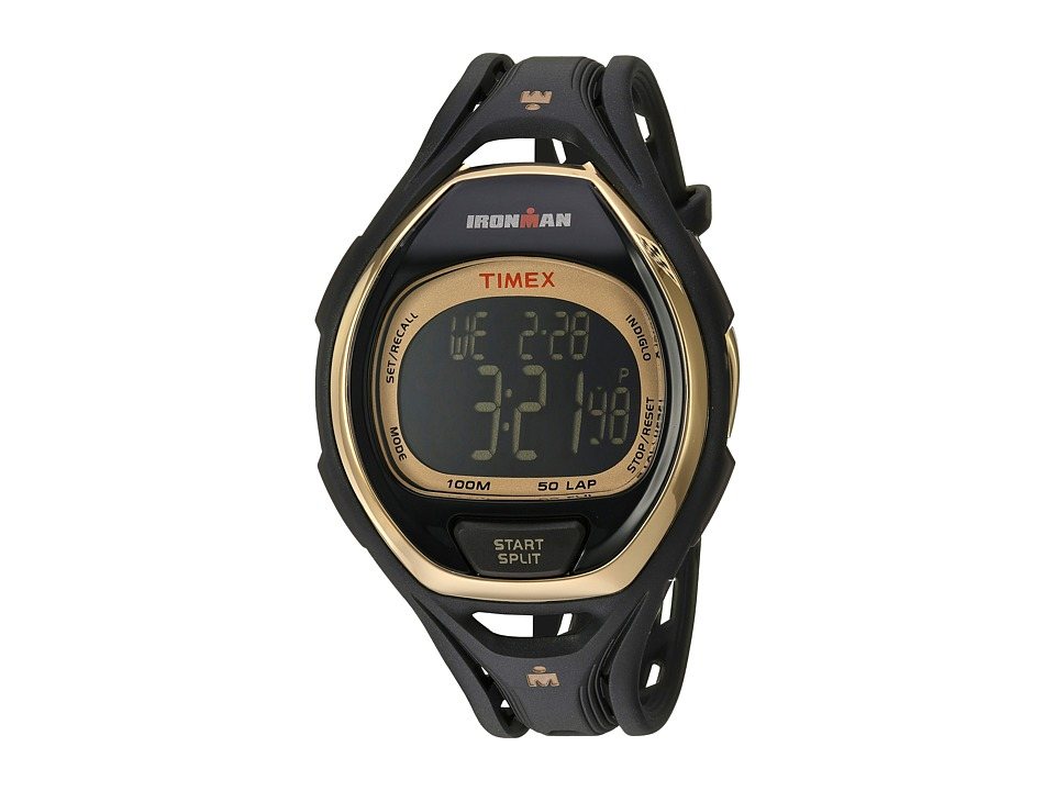 Timex - Ironman Sleek 50 Hollywood Full-Size Resin Strap Watch (Black/Gold-Tone) Watches