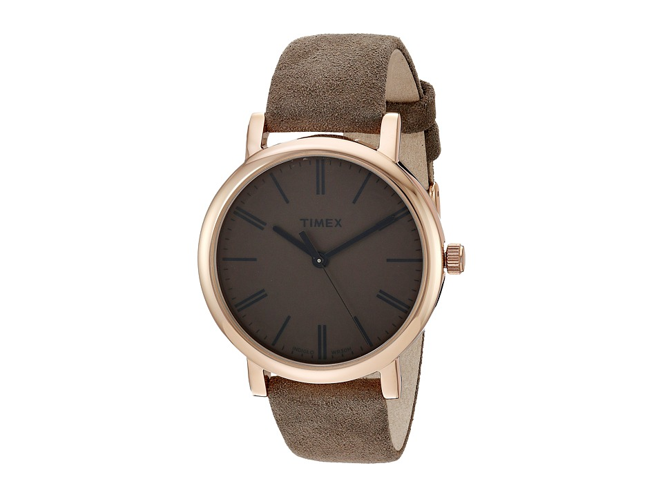 Timex - Originals Tonal Leather Strap Watch (Brown/Rose Gold-Tone) Watches