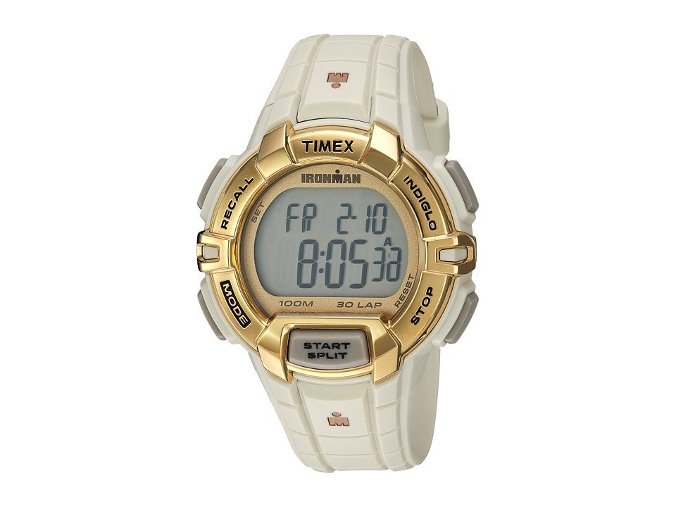 Timex - Ironman Rugged 30 Hollywood Full-Size Resin Strap (White/Gold-Tone) Watches