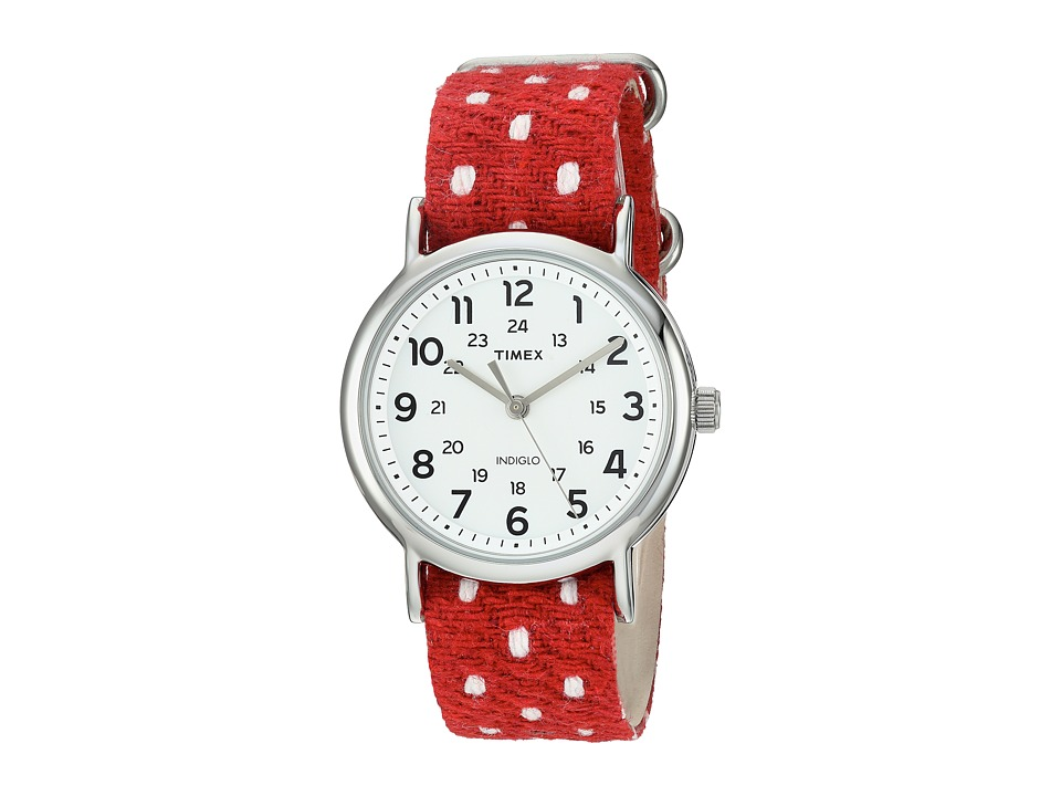 Timex - Weekender Fabric Over Leather Slip-Thru Strap (Red/Silver-Tone/White) Watches