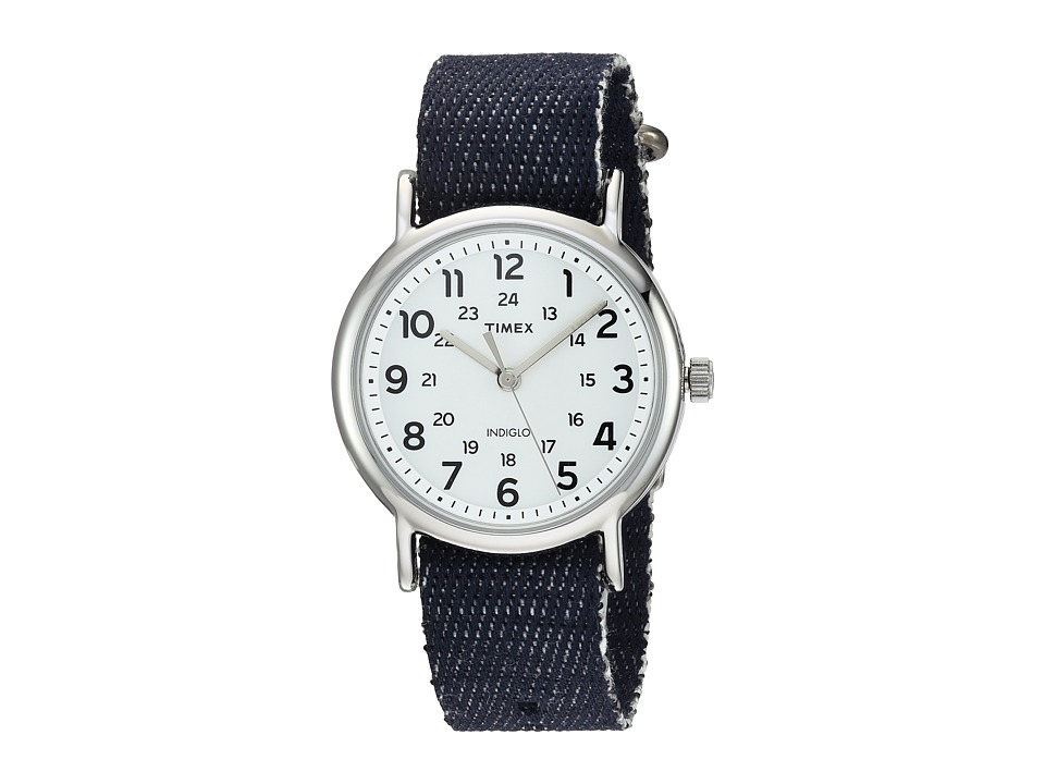 Timex - Weekender Denim Slip-Thru Strap (Dark Blue/Silver-Tone/White) Watches