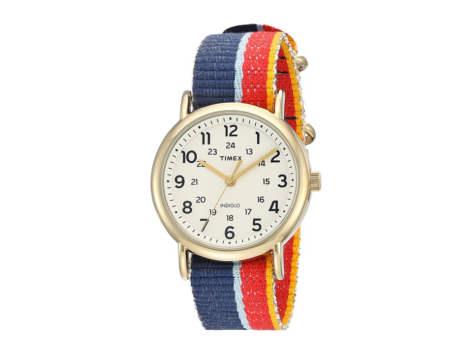 Timex - Weekender Denim Slip-Thru Strap (Multicolor/Gold-Tone/Cream) Watches
