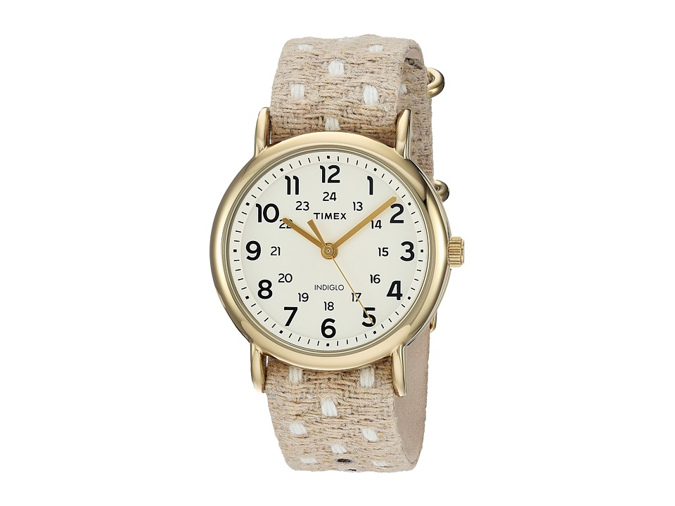 Timex - Weekender Fabric Over Leather Slip-Thru Strap (Beige/Gold-Tone/White) Watches