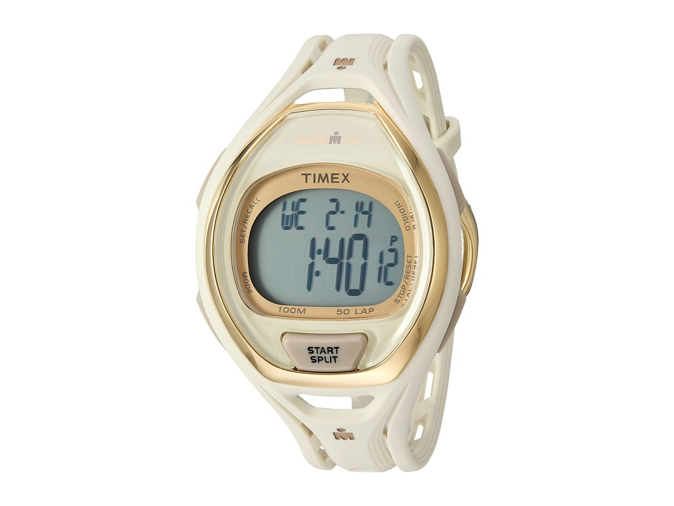 Timex - Ironman Sleek 50 Hollywood Full-Size Resin Strap Watch (White/Gold-Tone) Watches