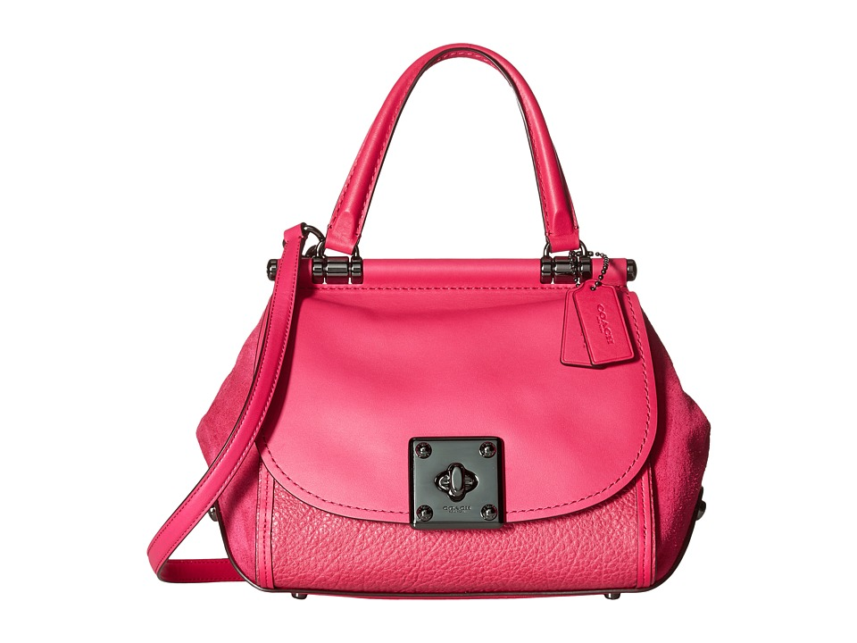 COACH - Mixed Leather Drifter Top-Handle (DK/Cerise) Top-handle Handbags
