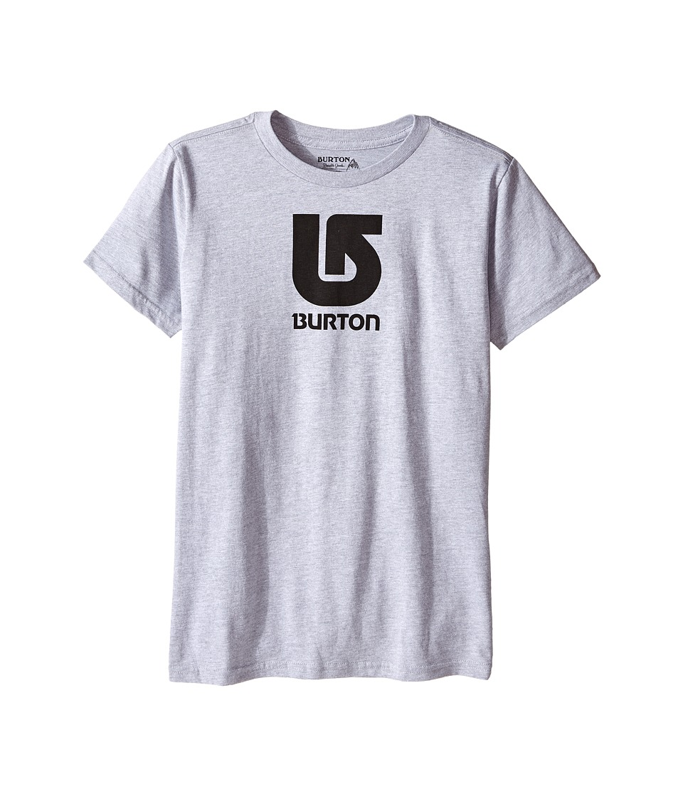 Burton Kids - Logo Vertical S/S Tee (Big Kids) (Grey Heather 2) Boy's Short Sleeve Pullover