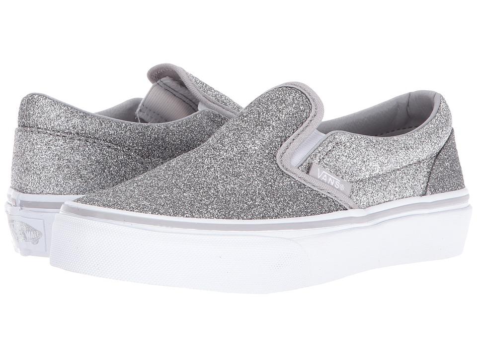 Vans Kids Classic Slip-On (Little Kid/Big Kid) ((Shimmer) Silver 2) Girls Shoes