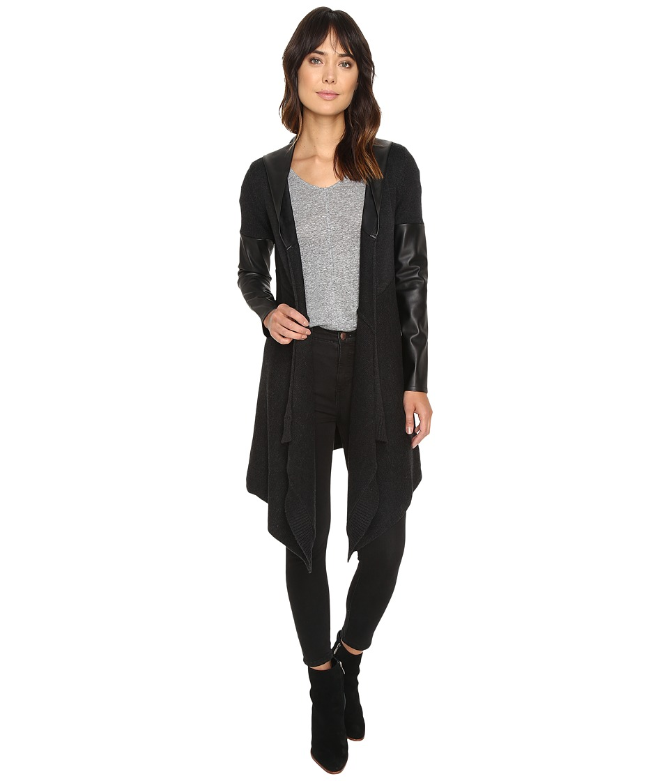Blank NYC Hooded Vegan Leather and Wool Sweater in Party Monster (Charcoal Grey) Women