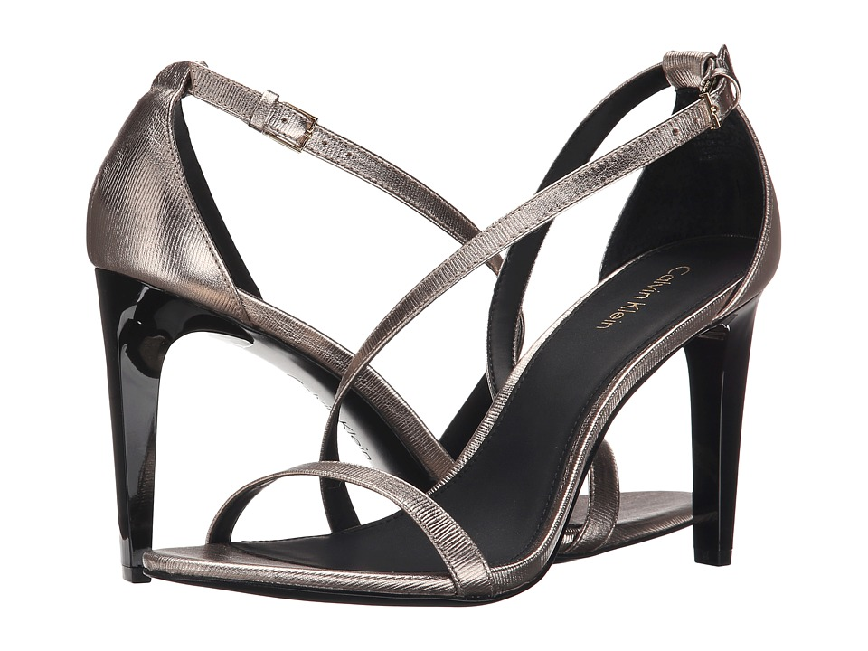 Calvin Klein - Narella (Soft Platinum Metallic Birch Leather) Women's Dress Sandals