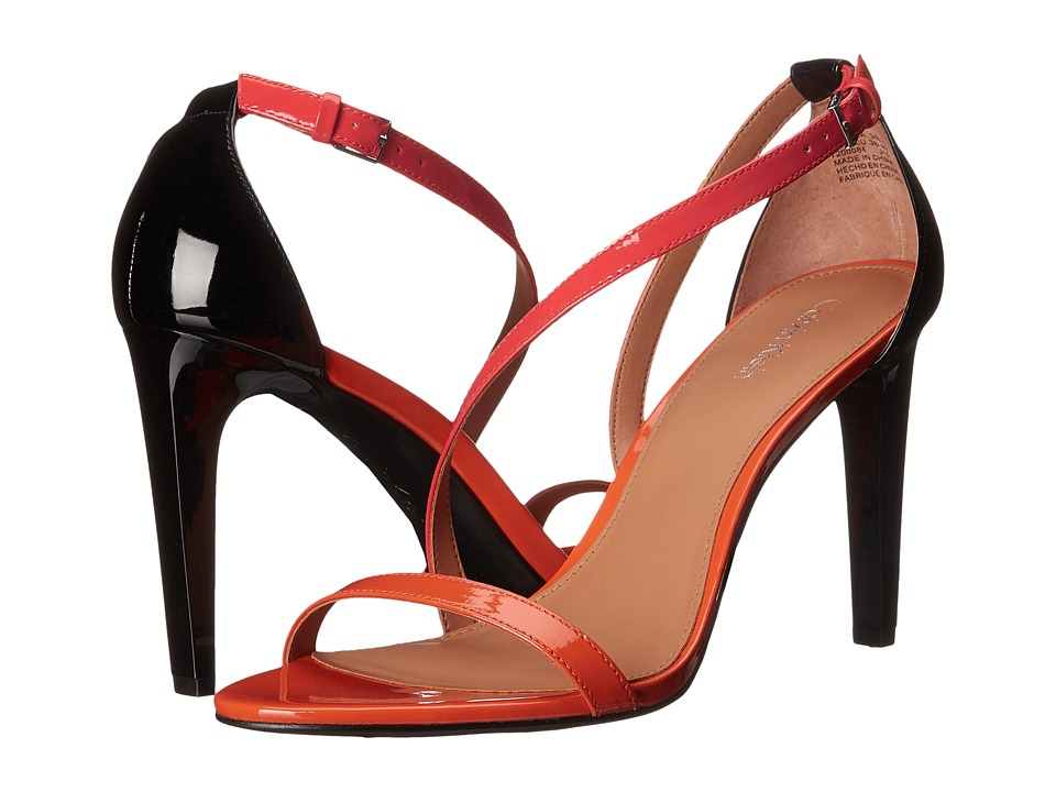 Calvin Klein - Narella (Tangerine/Coral/Black Patent) Women's Dress Sandals