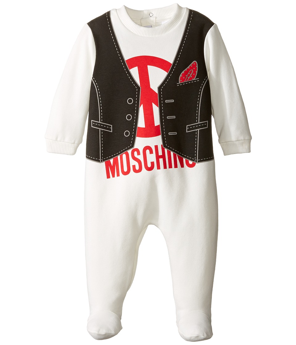 Moschino Kids - Vest Print Footie w/ Logo (Infant) (Black/White) Boy's Jumpsuit & Rompers One Piece