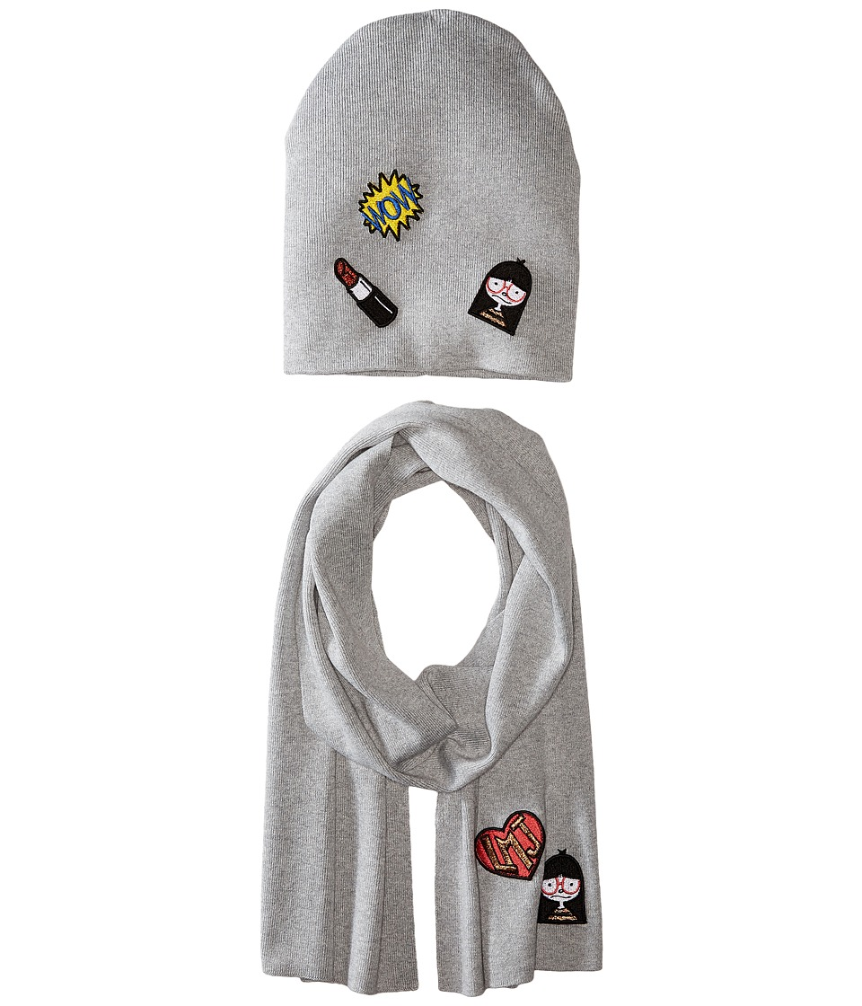 Little Marc Jacobs - Set of Knitted Hat and Scarf with Fancy Patches (Gris Chine) Scarves