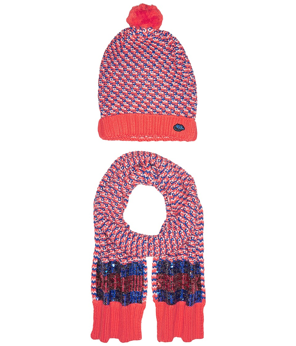 Little Marc Jacobs - Set of Knitted Hat and Scarf with Sequined Stripes (Red/Blue) Scarves