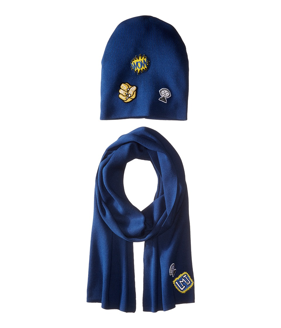 Little Marc Jacobs - Set of Knitted Hat and Scarf with Fancy Patches (Blue Vague) Scarves