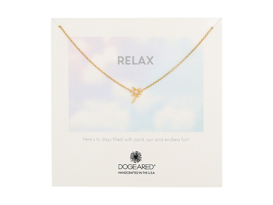 Dogeared - Relax Palm Tree Necklace (Gold Dipped) Necklace