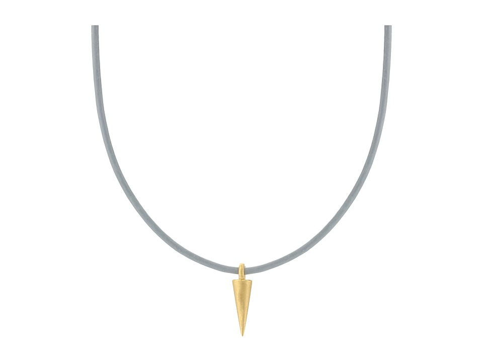Dogeared - Top Layer Spike On Leather Choker (Gold Dipped/Black) Necklace