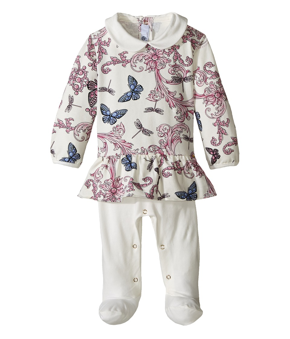 Versace Kids - Collar Footie w/ Butterfly Print Top (Infant) (Multi/White) Girl's Clothing
